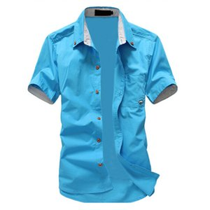 Wholesale Fashion mens shirt summer short sleeve slim shirt casual SFABY Mushroom Embroidery men s sky blue