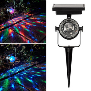Wholesale 2018 New Christmas Light Solar Projection Lamp Rotatable Colorful Lawn Solar Powered Light Outdoor LED Mixing Color Durable Christmas Party