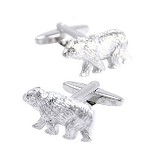 Wholesale SAVOYSHI Polar Bear Bottons for Mens With Box Shirt Cuff Bottons Brand Novelty Silver Animal Cufflinks Fashion Men Jewelry