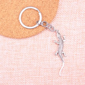 Fashion 28mm Key Ring Metal Key Chain Keychain Jewelry Antique Silver Plated lizard gecko 56*15mm Pendant