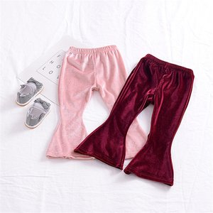 Wholesale Baby girls Gold velvet Flare pants INS Leggings children Trousers 2018 new fashion kids Boutique Clothing B11