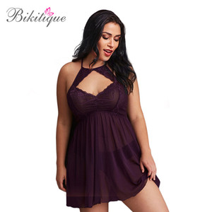 Wholesale Bikitique Summer Women Large Size Lace Night For S Stitching Mesh Sexy Erotic Lingerie Exotic Apparel Sex Dress Sleepdress E D18110801
