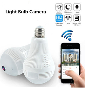Wholesale Bulb Security Cameras Wifi Panoramic FishEye Wireless Degree Night Vision Mini CCTV Surveillance Home Security System IP Camera