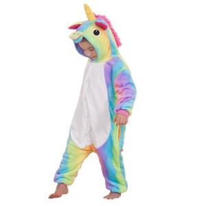 lovely kids onesie pajamas cartoon unicorn cosplay raninbow flannel pajamas for 3-10years children boys girls thick warm sleepwear clothing