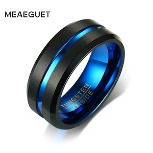 Wholesale whole saleMeaeguet Black Tungsten Carbide Ring For Men Women Matte Finished Wedding Bands Blue Carbon Fiber Groove Rings Jewelry