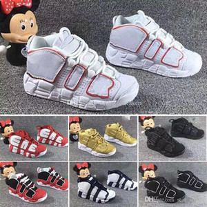 Wholesale 2018 New QS Olympic Varsity Maroon Kids Basketball Shoes for M Scottie Pippen Uptempo Boys Girls Sports shoes Sneakers