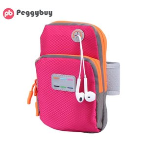 Wholesale Women Men Sport Armband Cases Zippered Running Phone Arm Band Bags Pouch Headset Hole Portable Purse Clutch Wallets for Jogging