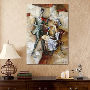Wholesale restaurant abstract paintings for sale - Group buy Modern Wall Handmade Oil Painting Art Picture Dinner Restaurant Room Music Abstract figure Decorative Canvas Painting No Frame