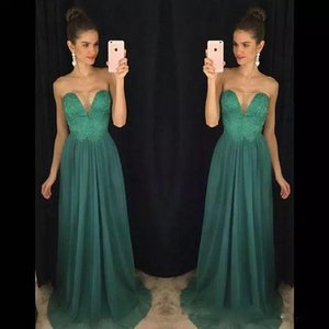 Fashion Strapless Lace Beaded Long Prom Dresses Cheap China Chiffon Evening Gowns Party Dresses 2018 Bridesmaid Dresses