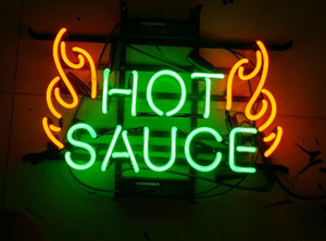 "17""x14"" New Hot Sauce Wall Decor Man Cave Real Glass Beer Bar BBQ Neon Light Sign"
