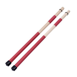 musica jazz al por mayor-1 Par CM Bambú Rod Drum Brushes Sticks para Jazz Folk Music Rojo