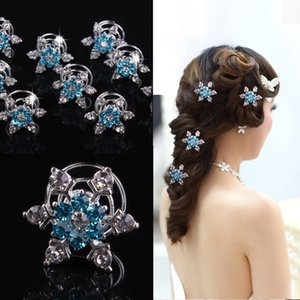 Wholesale 12pcs Bride Rhinestone Snowflake Spiral Hair Clips Beautiful Blue flower Hairpins Headspiece for girls wedding Hair Accessories Jewelry