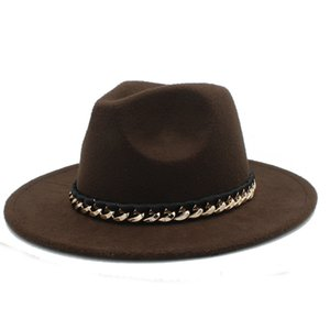Vintage Unisex Wool Blend Panama Hat Outdoor Wide Brim Sombrero Godfather Cap Church Party Caps Jazz Hat Metal Chain