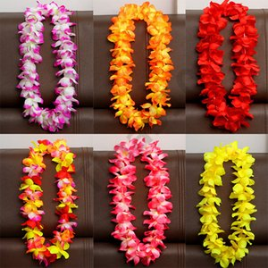 Wholesale Artificial Flowers Wreath Party Decoration Hawaiian Wreath Wedding Birthday Christmas Supplies Hula Garland Flower Necklace T1I983