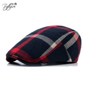 Wholesale Zgllywr Berets Cap for Men Women Fashion Summer Plaid Newsboy Flat Peaked Cap Cotton Thin Plain Adjustable Cabbie Ivy Flat Hat
