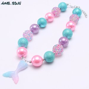 Wholesale Cartoon Princess Baby Kid Chunky Necklace Fashion Mermaid Tail Pendant Bubblegum Chunky Beads Necklace Girl Children Jewelry