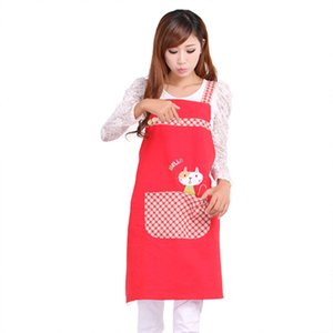 Wholesale Sleeveless Apron Cute Cat Fashion Princess Tea Shop Kindergarten Apron Woman Lady Work Wear Cotton Overall Aprons Logo