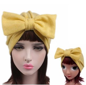 Wholesale NEW Parent child Jersey Bow Turban Baby Kids Headcover Hat Fashion Women Bowknot Cap Girls Boho Hat Beanie Scarf Turban Head Wrap Cap