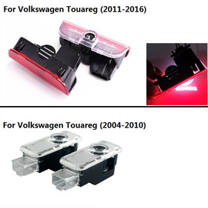 2pcs LED Door Warning Light Laser Logo Projector welcome lamp For VW new Touareg 2011-2017 old Touareg 2004 - 2010