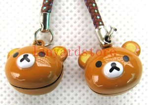 Wholesale The image of the cute little bear Cell Phone Charm colour Strap Keychains Mixed Small Bell Charm