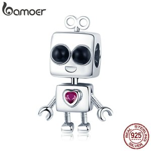 Hot Sale 925 Sterling Silver Tick Tock Robot Girls Boys Childhood Beads Charm fit Charm Bracelet DIY Jewelry Gift