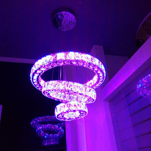Color changing RGB LED pendant light  round crystal lamp 3 rings pendente suspended light fixture for bar shop home decor