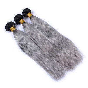 9A 1b Grey Ombre Brazilian Virgin Human Hair Extensions Ombre Gray Peruvian Malaysian Indian Cambodian Straight Hair Weave Bundles