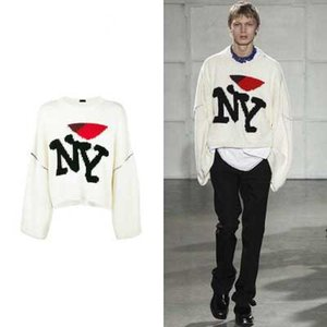 Wholesale 17FW Raf Simons Sweaters Letter Knitted Shirt Multicolor Black Red White Blue Knitted Pullover Sweater Fashion Couple Sweater NY