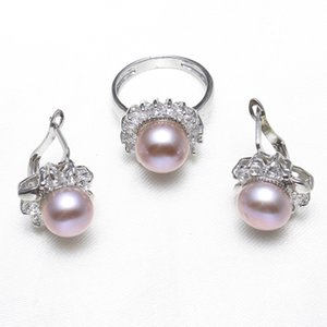 Wholesale Real Natural Cultured Freshwater Pearl Jewelry Sets Pink Purple Pearl Flower Rings earrings cubic zirconia Wedding Bridal Gifts