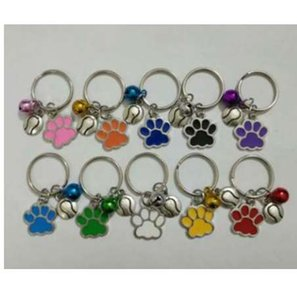 Wholesale New Hot Drip Glaze Cat Dog Bear Paw Flyball Mix Bell Charm Anti Theft Keychain Gift Key Circle Jewelry Making