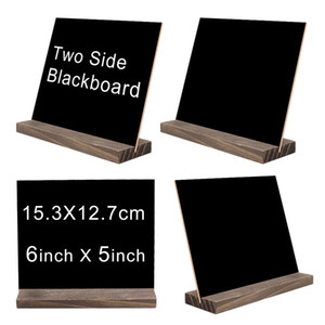 Mini Double Side Chalkboard Signs Vintage Style Wood Base Stand Buffet Bar Message Display Signs Novelty Home Decorative Rustic Wedding