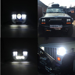 220W Pair 7X5'' LED Cree Square Headlight High Low Beam with Daytime Running mode and H4 connector for Wrangler YJ Cherokee XJ Trucks on Sale