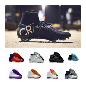Wholesale White Red Rainbow Original Soccer Shoes CR7 Mercurial Superfly V FG Soccer Cleats High Ankle Football Boots Ronaldo Sports Sneakers