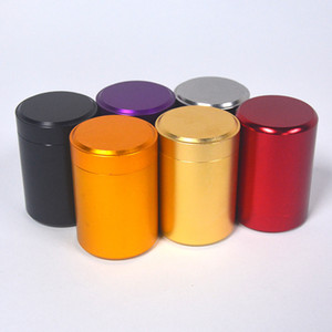 Wholesale Portable Tea Tin Box Mini Metal Canister Candy Storage Boxes Round Column Carry Case Sealed Jar Kitchen Tool Pure Color sy bb