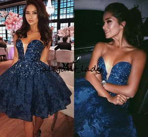 Zuhair Murad 2018 Navy Blue Lace Short Prom Dresses Sweetheart Sequins Beaded Puffy Formal Dress Party Evening Cute Homecoming Dresses on Sale