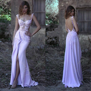Wholesale Front High Split Evening Dresses Backless Cap Sleeve Beaded Appliques Lace Floor Length Sheath Prom Dresses Formal Party Gowns Custom