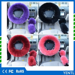 Wholesale free shipping 3pcs set Winter Car Steering-wheel Cover Colors Long Australian Wool Heated Fur Genuine Leather Steering Wheel Cover Fur