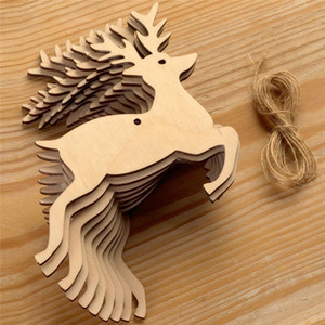 Wholesale 10pcs bag Natural Wooden Christmas Hanging Ornament Creative Elk snowman Christmas Tree Hanging Wood Craft Christmas Decor with Hemp Ropes