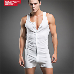 New Fashion Design Mens Underwear Sexy White Gray Cotton Undershirt Boys Muscle Tight Bodysuit Flexible Singlet