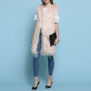 Wholesale pink beige casaco feminino Fake Fur Cotton Women vest coats manteau femme winter coat women abrigos mujer jas poncho cape vest
