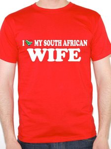 Wholesale I LOVE MY SOUTH AFRICAN WIFE Valentine South Africa Flag Themed Mens T Shirt