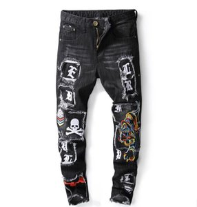 Wholesale Italy Fashion Designer Men s Skinny Jeans Male Casual Distressed Washed Ripped tiger Skull Embroidered Patches Denim Pants Stretch Slim