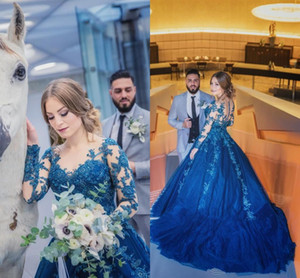 Royal Blue Evening Formal Dresses with Long Sleeve 2018 Modest Lace Applique Puffy Skirt Midde East Arabic Occasion Prom Gown on Sale