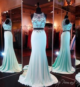 2018 Two Pieces Pageant Dresses Sheer Neck Crystal Beads Rhinestone Floor Length Mermaid Evening Party Prom Dresses Women Dresses on Sale