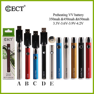 original ECT 650mah variable voltage preheating battery bottom twist e cigarette preheat battery 510 thread for thick oil vape cartridges