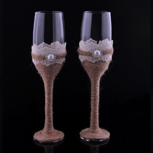 Wholesale Set of Burlap Lace Design Rustic Wedding Champagne Flutes Wedding Wine Glasses Bride and Groom Toasting Flutes Wedding Favor Gift