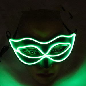 Wholesale SF ship Princess sexy half face LED Glow mask Halloween party fox beauty flash costume party