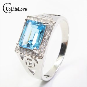 100% natural topaz ring classic solid 925 sterling silver ring for man Emerald Cut 7mm*9mm fairless light blue topaz Christmas on Sale