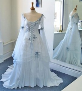Wholesale Vintage Celtic Wedding Dresses White and Pale Blue Colorful Medieval Bridal Gowns Scoop Neckline Corset Long Bell Sleeves Appliques
