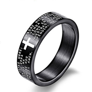 Wholesale Fashion Scripture Cross Bible Text Jesus Tattoo Men Ring Rings For Women Titanium Steel Jewelry Gift